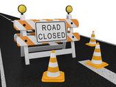 Segnale di avvertimento di strada chiusa — Foto Stock