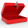 Opened red metal box — Stockfoto