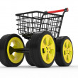 3d shopping cart with big car wheel - Stock Photo