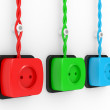 Electric sockets of different colour — Stock Photo #6223174