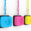 Electric sockets of different colour — Stock Photo