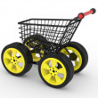 3d shopping cart with big car wheel — Stock Photo #6607058