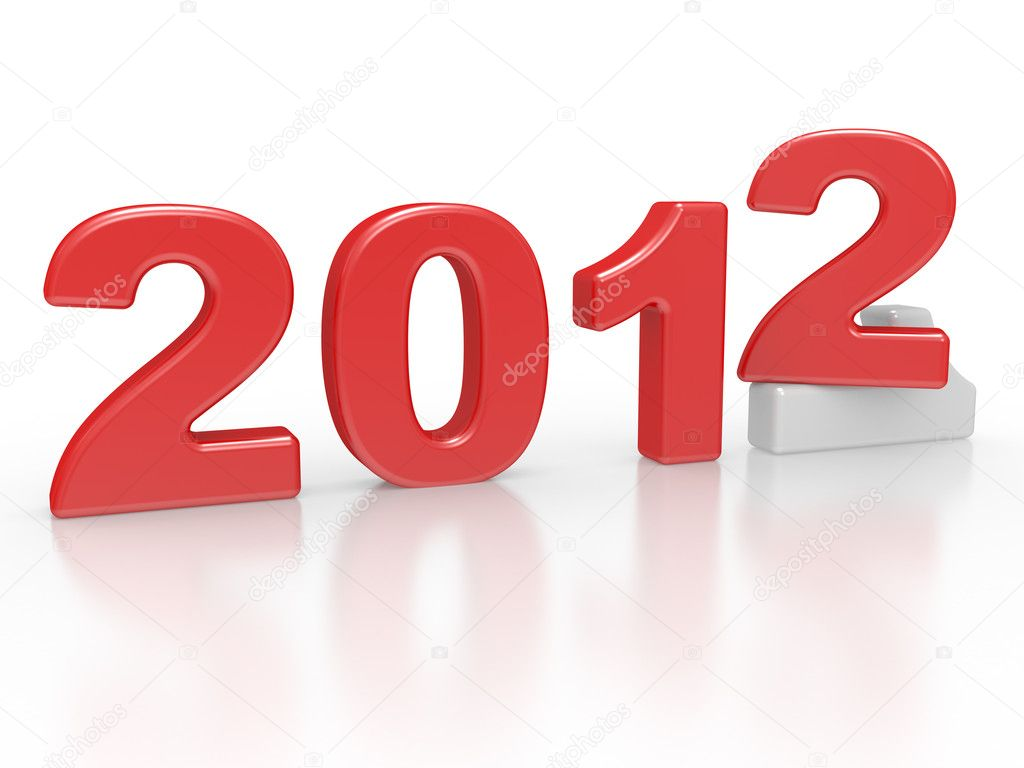 New year sign 2012 3d render on a white — Stock Photo #6721373