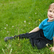 Stock Photo: Little boy laying on the grass