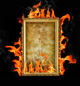 Frame on a fire — Stock Photo