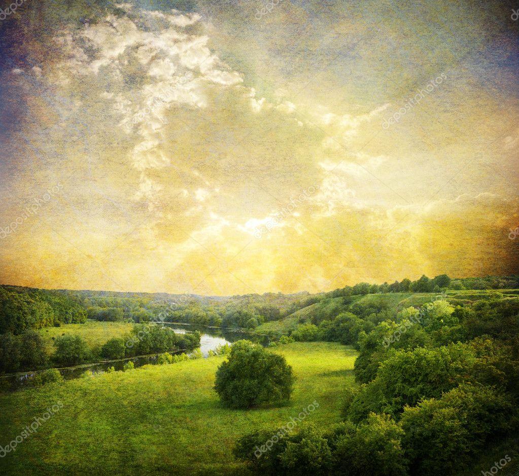 Vintage landscape photo — Stock Photo © volokhatiuk #5460213