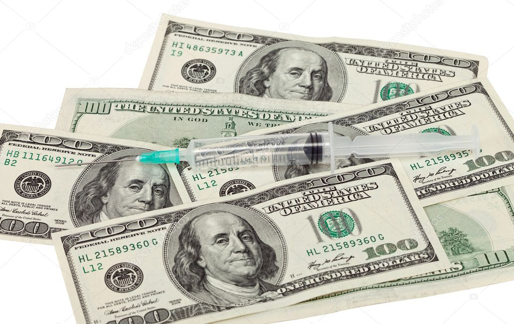 Addiction concept - narcotic, money and syringe against white — Stock Photo #5886023