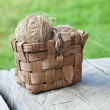 Stock Photo: Rural still life.Old Basket threads