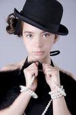 Портрет красивой девушки в шляпе — Stock Photo