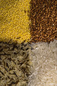Background from millet, buckwheat and rice — Stock Photo