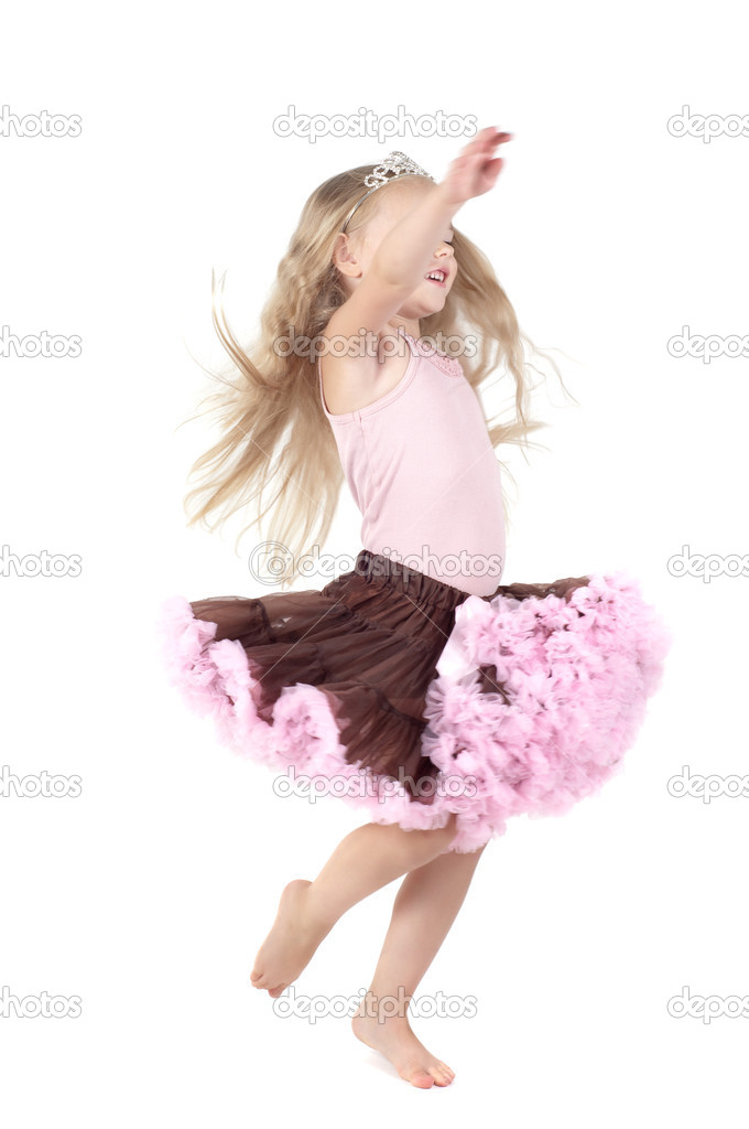 Shot of little girl with long blond hair in studio — Stock Photo #6313504