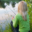 Fisherwoman on the river — Stock Photo #5814210
