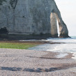 The famous cliffs at Etretat in Normandy, France. Tide sea - Foto de Stock  