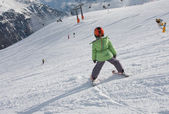 The first steps on skis — Stock Photo