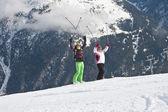 Montañas de los esquiadores de fondo — Foto de Stock