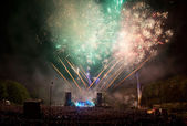 Fireworks at a concert. — Stock Photo