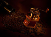 Coffee grinder with beans. — Stock Photo