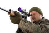 Retrato de um homem com uma arma branca. — Fotografia Stock