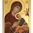 Old icon of the Mother of God - Stock Photo