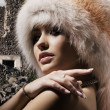 Stock Photo: Womin fur hat