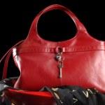 Red leather handbag — Stock Photo #5625558