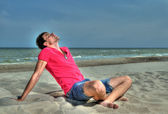 Beach man relaxing — Stock Photo