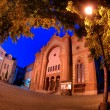 Night of the old synagogue of Uzhgorod, Ukraine - Stock Photo