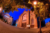 Night of the old synagogue of Uzhgorod, Ukraine — Stok fotoğraf