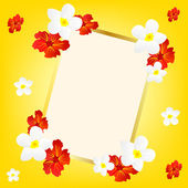 Yellow background with flower and frame — Stock Vector