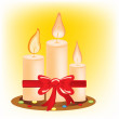 Stock Vector: Festive burning candles