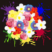 Much flowers on black background — Stock Vector
