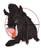 Wild wild boar in optical sight — 图库矢量图片