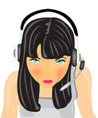 Girl in earphone — Vector de stock