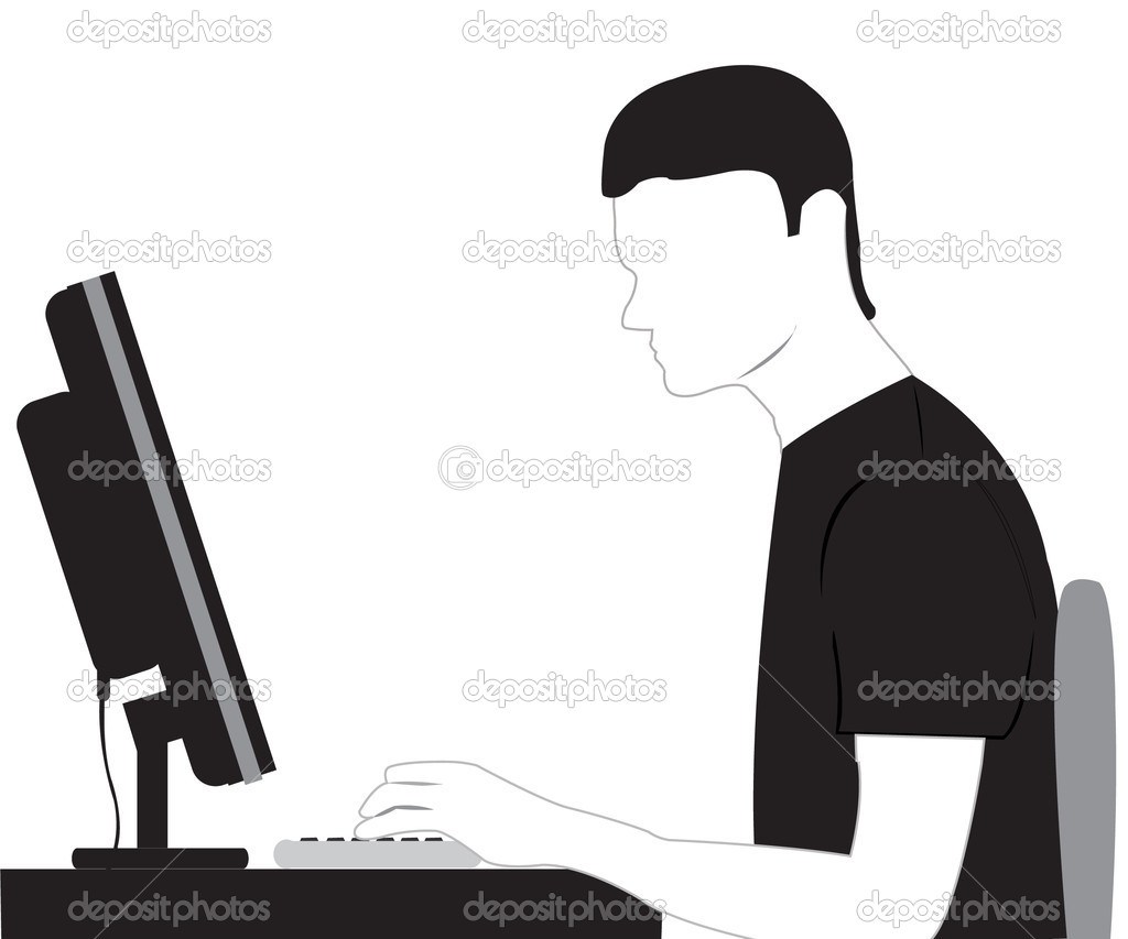 Silhouette men sitting for computer  Stock Vector #6468949