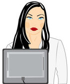 Making look younger nice girl for computer — Stock Vector