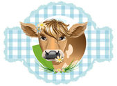 Koeien met bloemen in hun tanden — Stockvector