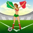 Italy girl soccer fan — Vettoriali Stock