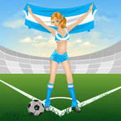 Argentina girl soccer fan — Vettoriale Stock