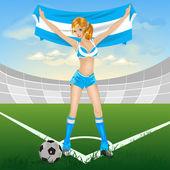 Argentina dívka fotbalový fanoušek — Stock vektor