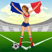 Fan di calcio francia ragazza — Vettoriale Stock