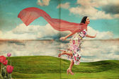 Beauty young woman running on meadow — Stock Photo