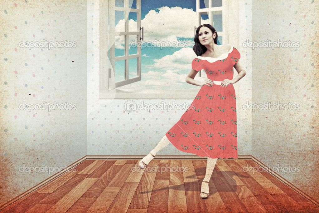 Beauty young woman in room, vintage collage — Stock Photo #5581907