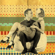 Retro art collage with couple — Stock Photo