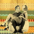 Retro art collage with couple - Stock Photo