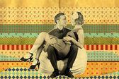Retro art collage with couple — Stock Photo