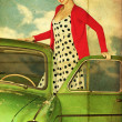 Vintage collage with beauty woman in green car - Stock Photo