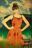 Vintage collage with beauty woman in green car — Stock Photo