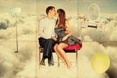 Beauty young lovers in the sky — Stock Photo