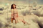 Art collage. beauty young woman on sky — Stock Photo