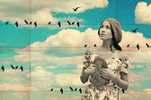 Collage with woman and birds — Stock Photo